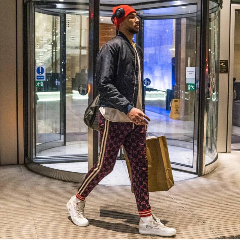 Ben Simmons wearing Gucci joggers and OFF-WHITE AF1s.