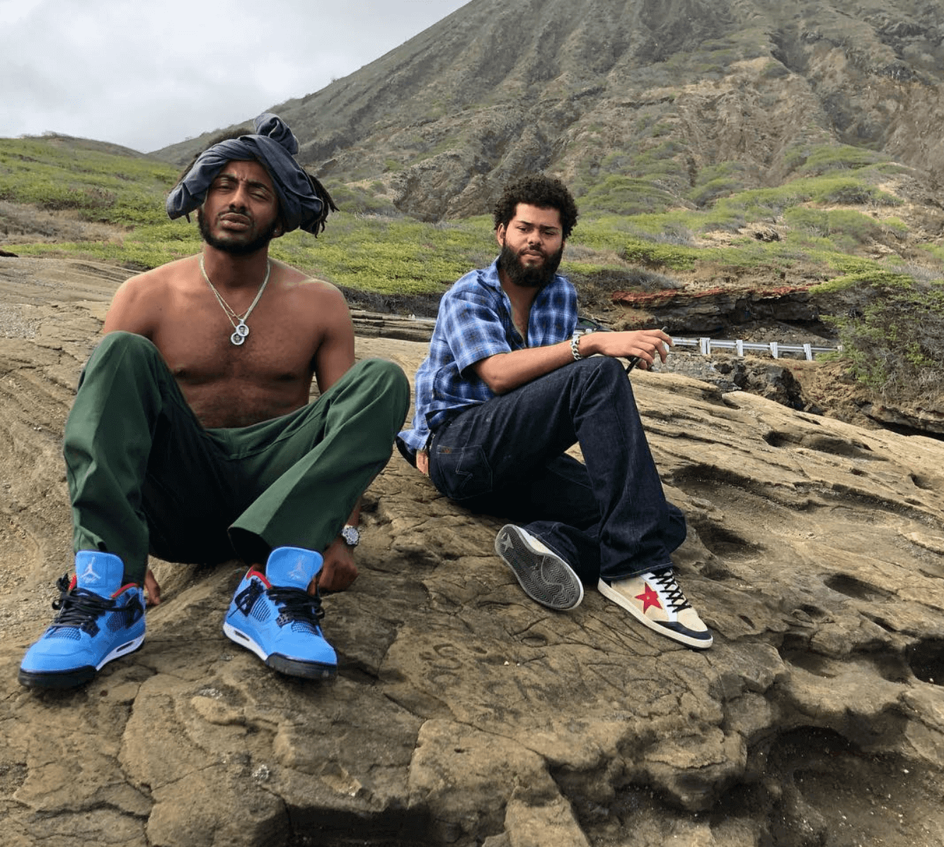 "Amine in the Travis Scott x Air Jordan 4 Retro ""Cactus Jack"""