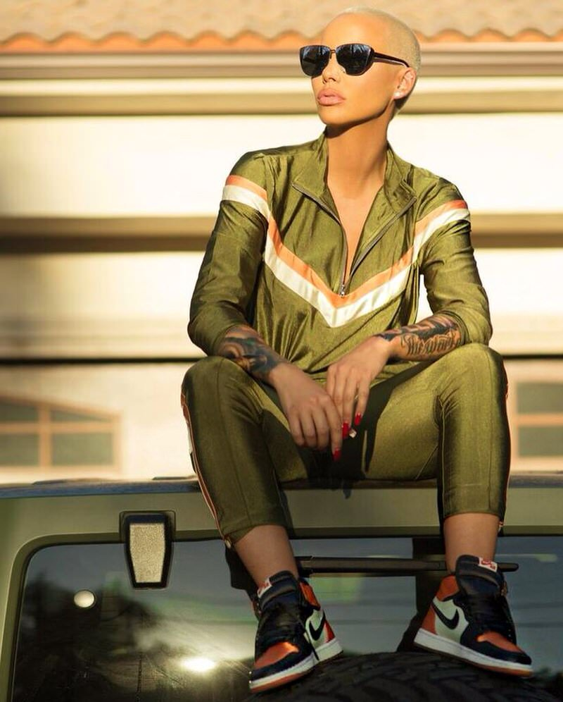 "Amber Rose in the Air Jordan 1 Retro High OG ""Satin SBB"""