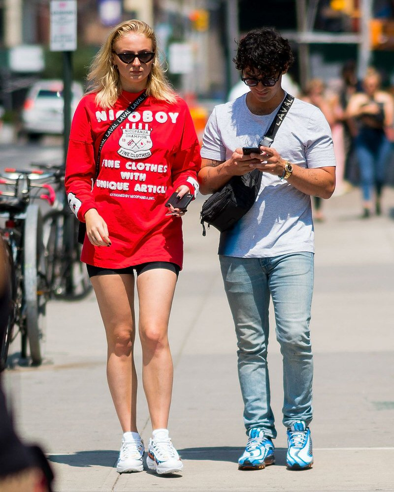 Sophie Turner in the Nike Air Max 95 and Joe Jonas in the Nike Air Max Deluxe