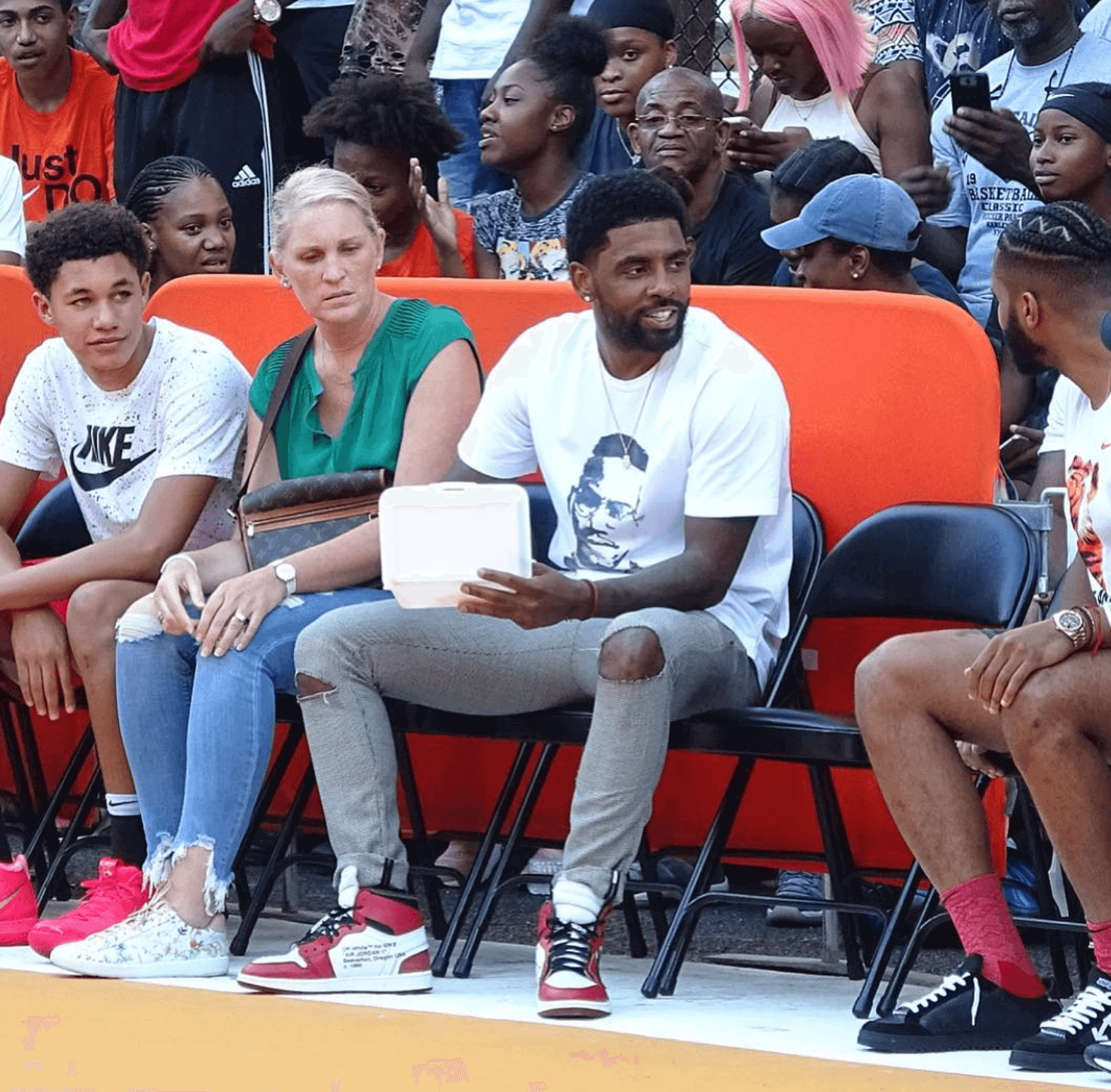 Kyrie Irving in the Off White x Air Jordan 1