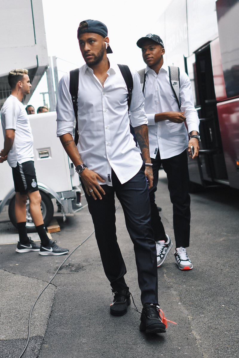 Neymar in the Off White x Nike Air Presto & Kylian Mbappé in the Nike Air Span II