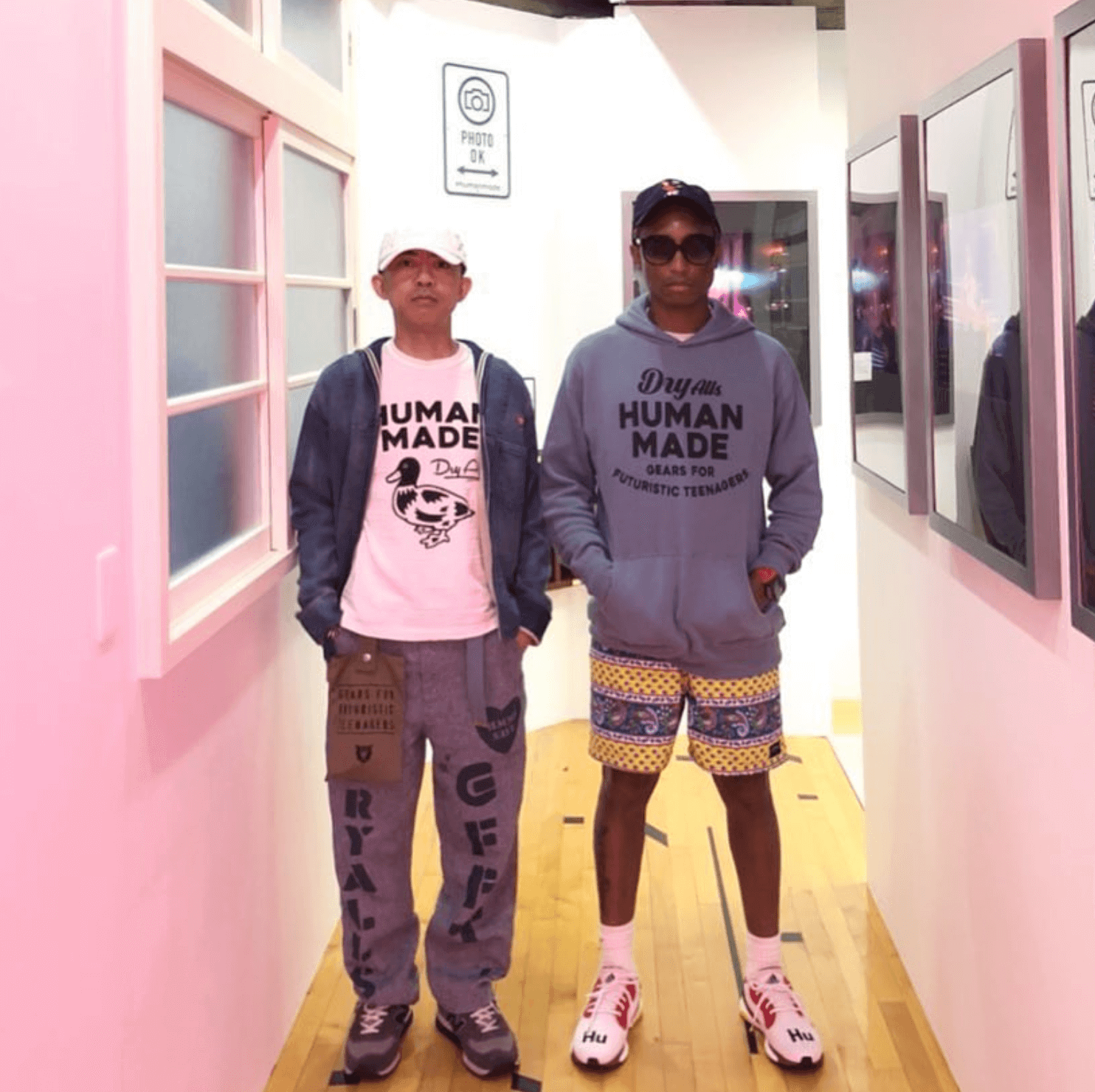 Nigo in the New Balance & Pharrell Williams in the Pharrell Williams x Adidas Solar Glide Hu ST