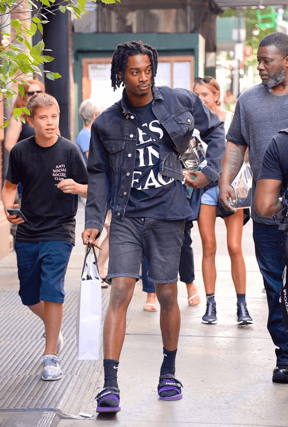 Playboi Carti in the Palm Angels x Suicoke Sandals