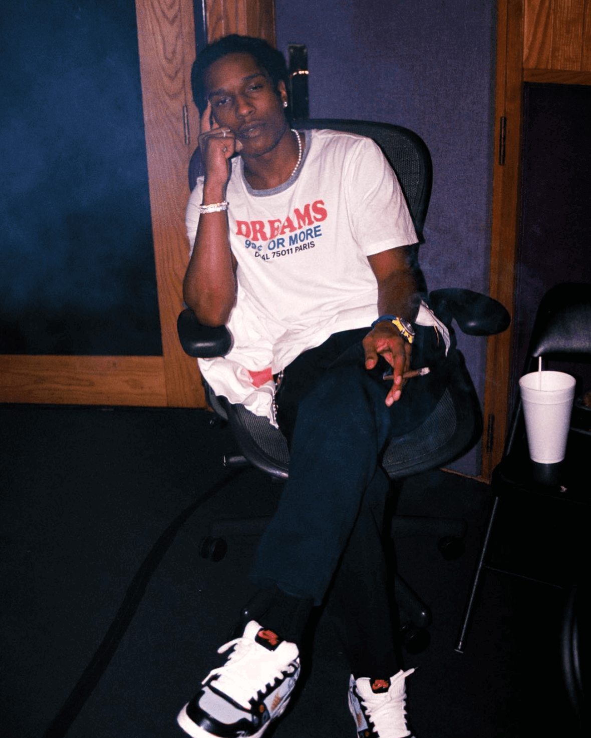 Asap Rocky in the Futura x Nike P Rod 1 Elite