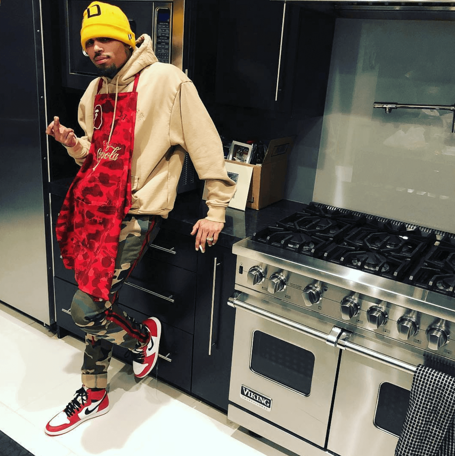 "Chris Brown in the Air Jordan 1 Retro High OG ""Chicago"""