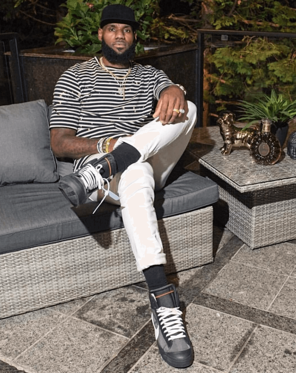 "Lebron James in the Off White x Nike Blazer Mid ""Black"""