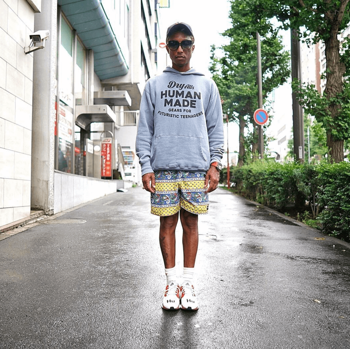 Pharrell in the adidas Solar Hu Glide ST