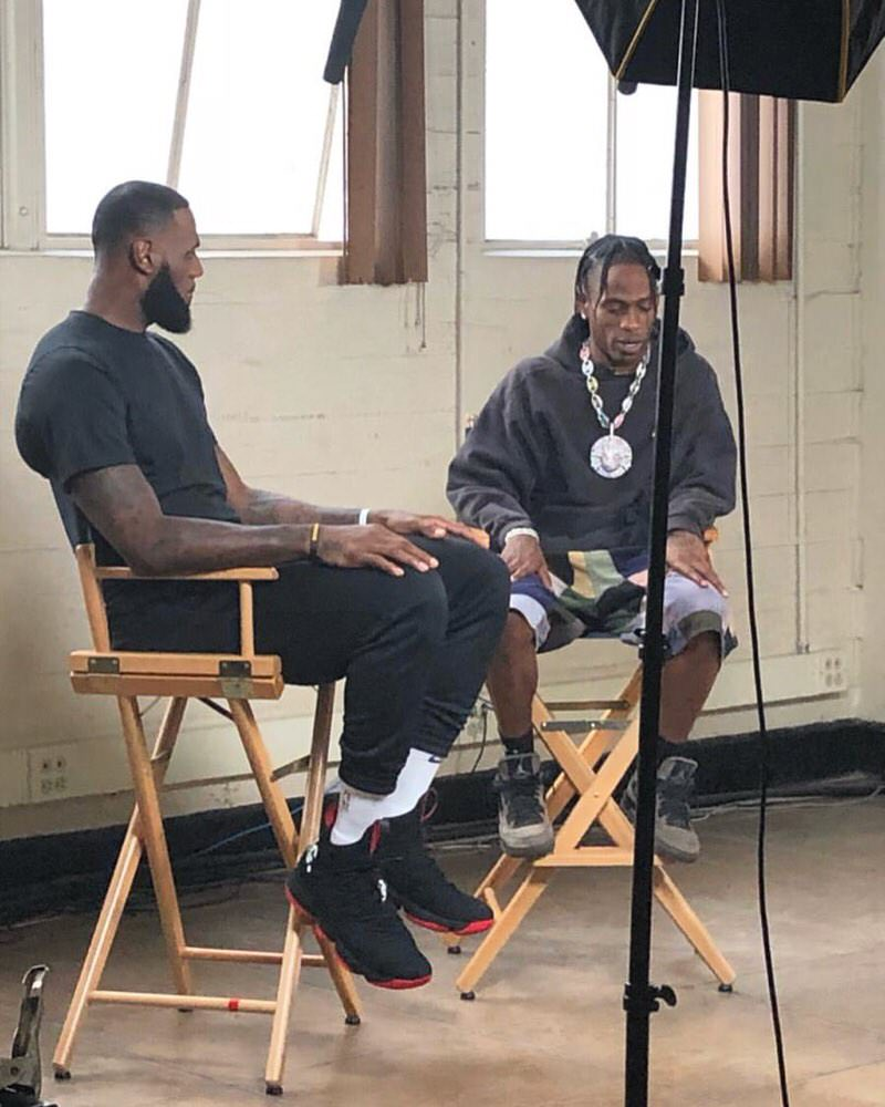 "Lebron James in the Nike Lebron 15 & Travis Scott in the Travis Scott x Air Jordan 4 ""Friends and Family"""