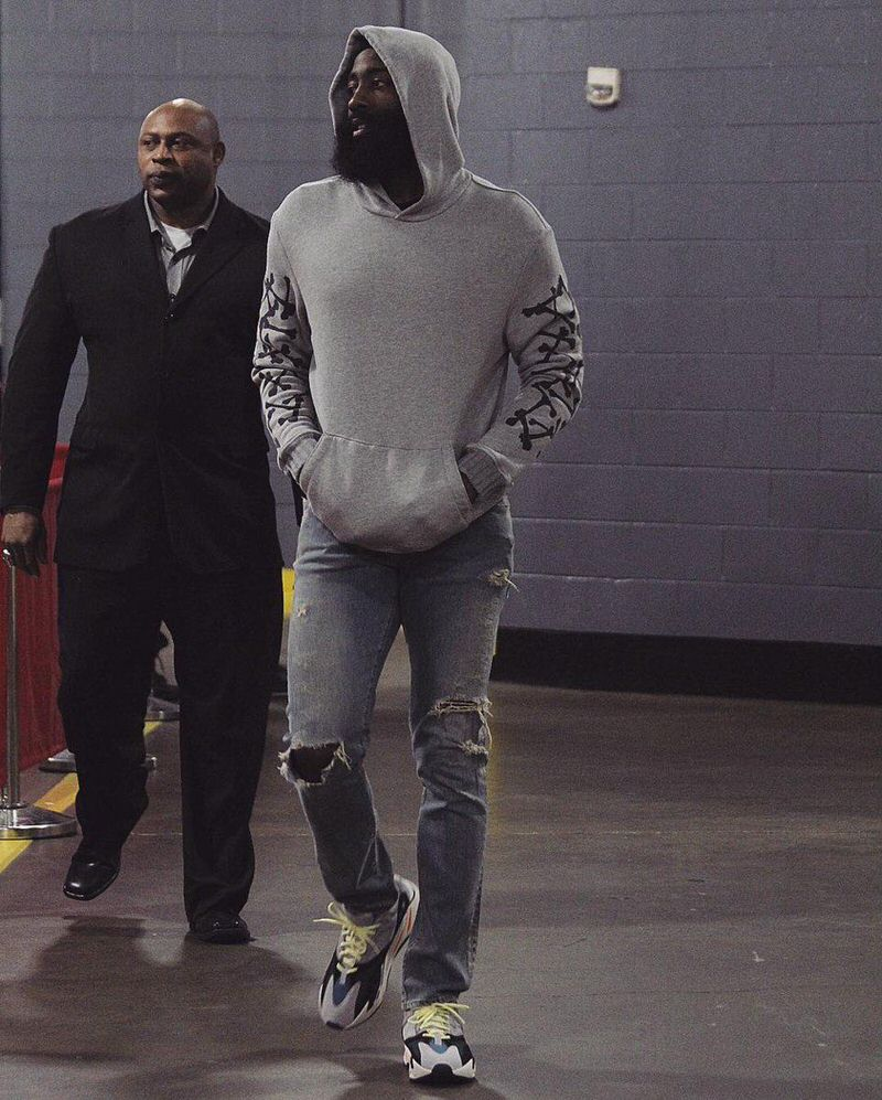 James Harden pairs Yeezy 700 Waverunners with a Cashmere AMIRI Bones hoodie.