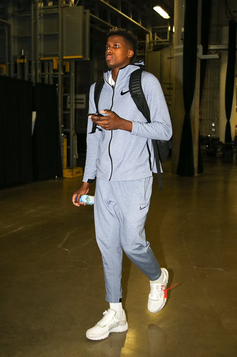 "Frank Ntilikina in the Off White x Nike Air Presto ""White"""