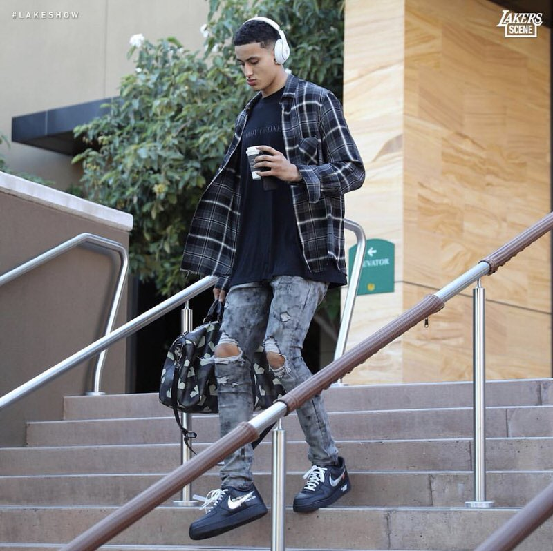 "Kyle Kuzma in the Off White x Nike Air Force 1 Low ""MOMA"""