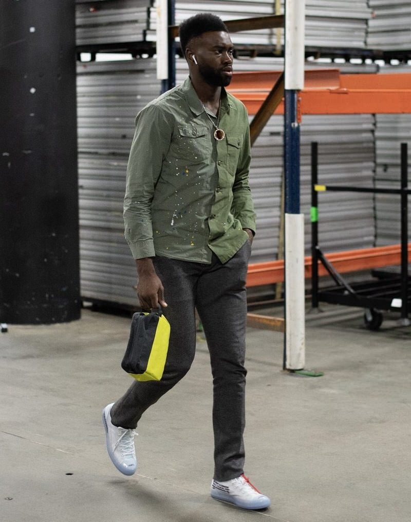 Jaylen Brown in the Off White x Converse Chuck Taylor