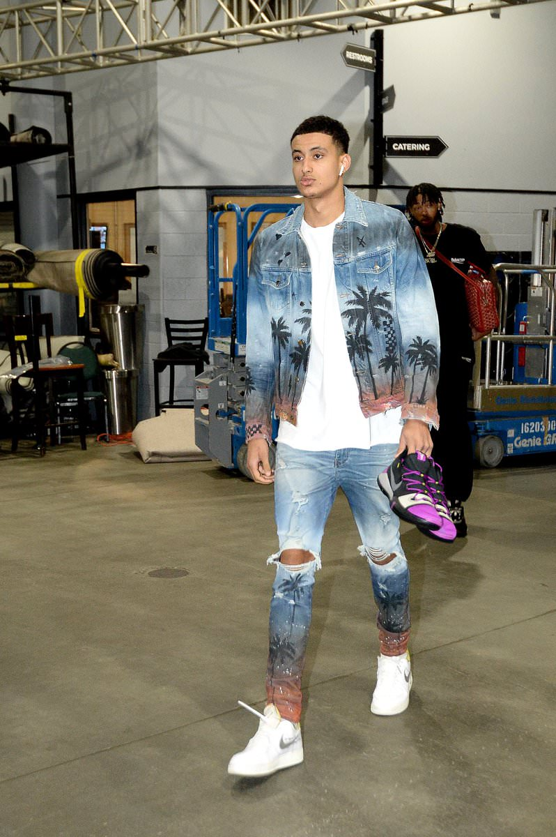 Kuzma in the Off White x Nike Air Force 1 Low