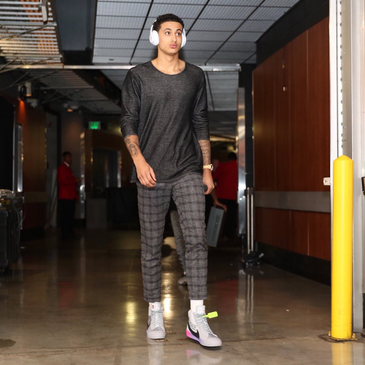 Kyle Kuzma in the Serene Williams x Off White x Nike Blazer Mid