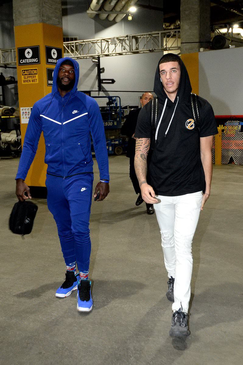 "Lance Stephenson in the Air Jordan 10 Retro ""Tinker"" & Lonzo Ball in the adidas Yeezy 500"