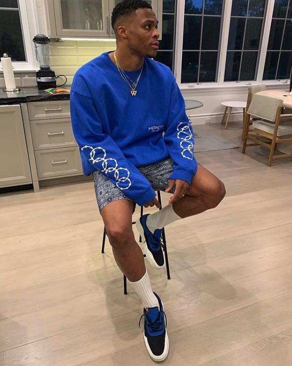 Russell Westbrook in the Air Jordan Russell Westbrook 0.3 Low