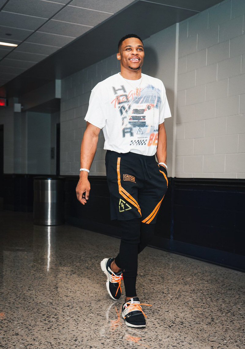 Russell Westbrook in the Off White x Nike Air Presto