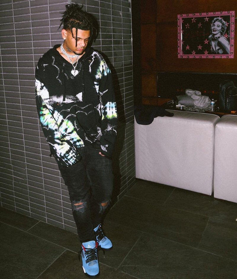 Smoke Purpp in the Travis Scott x Air Jordan 4