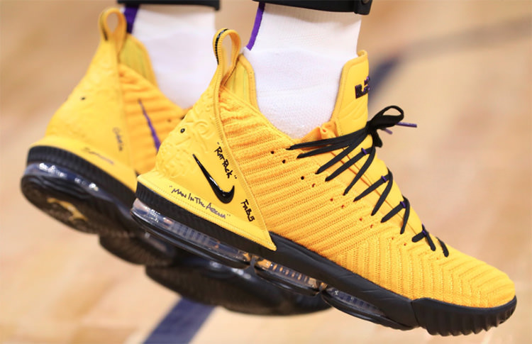 """Nike LeBron 16 """"Yellow"""" PE via @Lakers"""