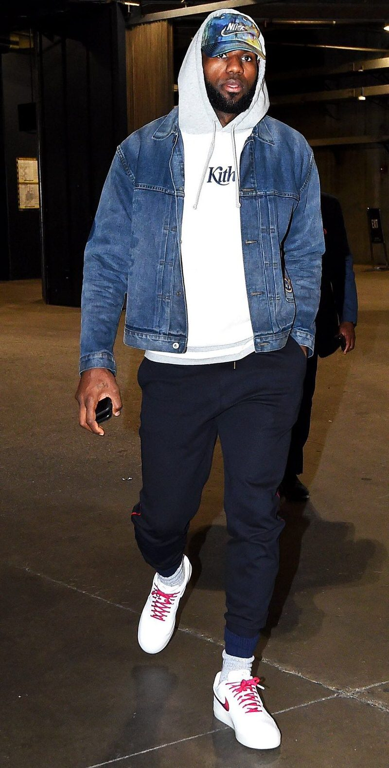 """LBJ's use of his """"De Lo Mio"""" Air Force 1s makes it simple to pair the shoe's shades with the rest of his wardrobe."""