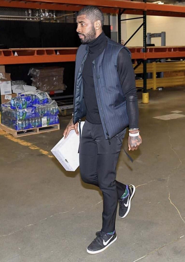 Kyrie Irving in the Nike SB Eric Koston Premium Kobe X Koston
