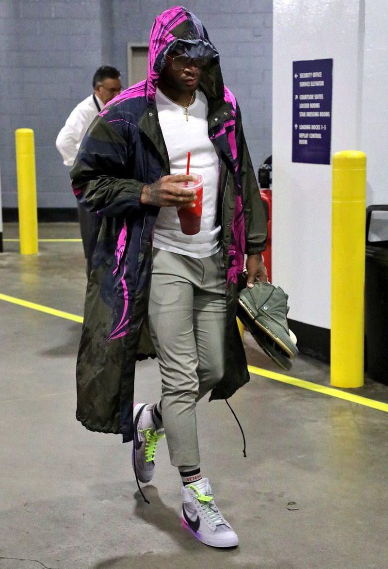 "PJ Tucker in the Off White x Nike Blazer Mid ""Serena Williams"""
