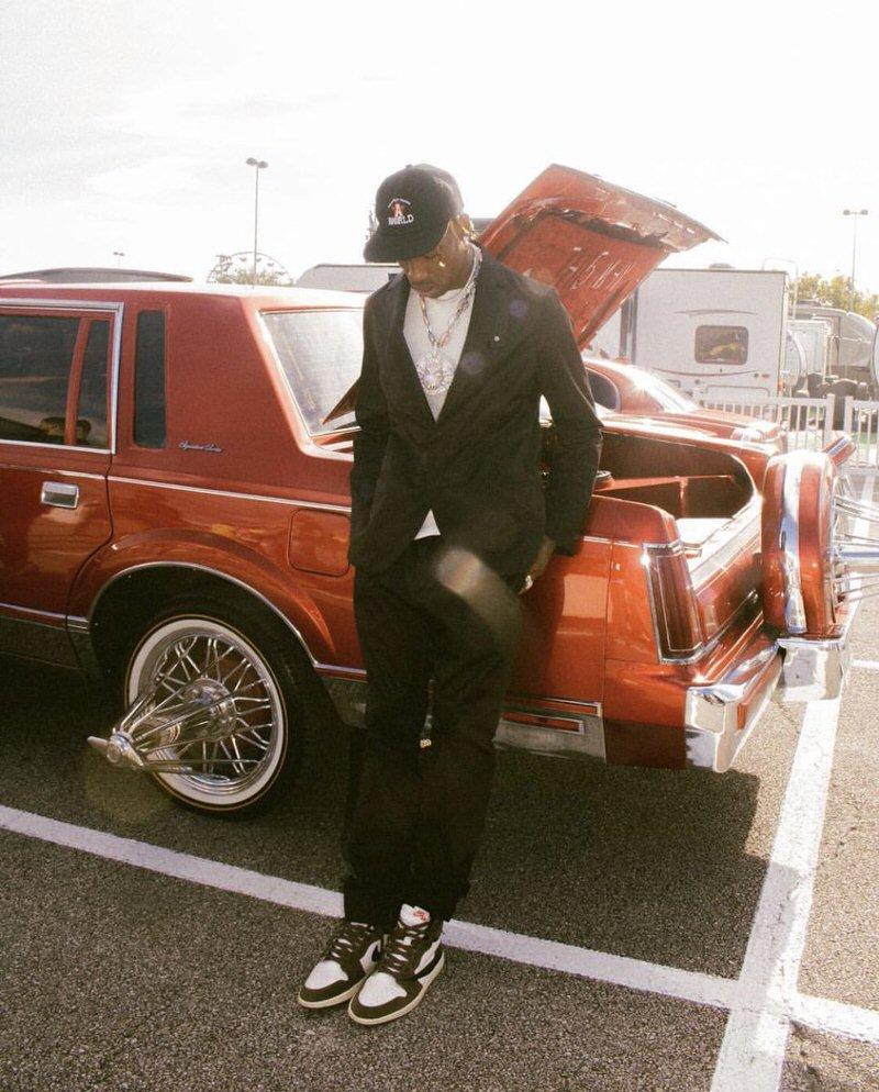 Travis Scott in the Travis Scott x Air Jordan 1