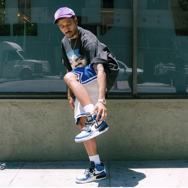 Don C's Jordan Legacy 312 make it easy to pair with other throwback classics, like vintage tees and basketball shorts.