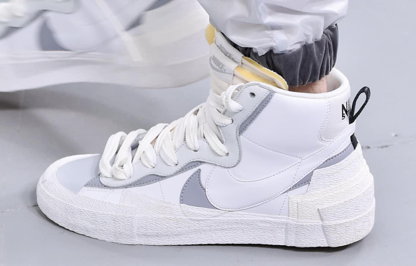 sacai x nike blazer white grey