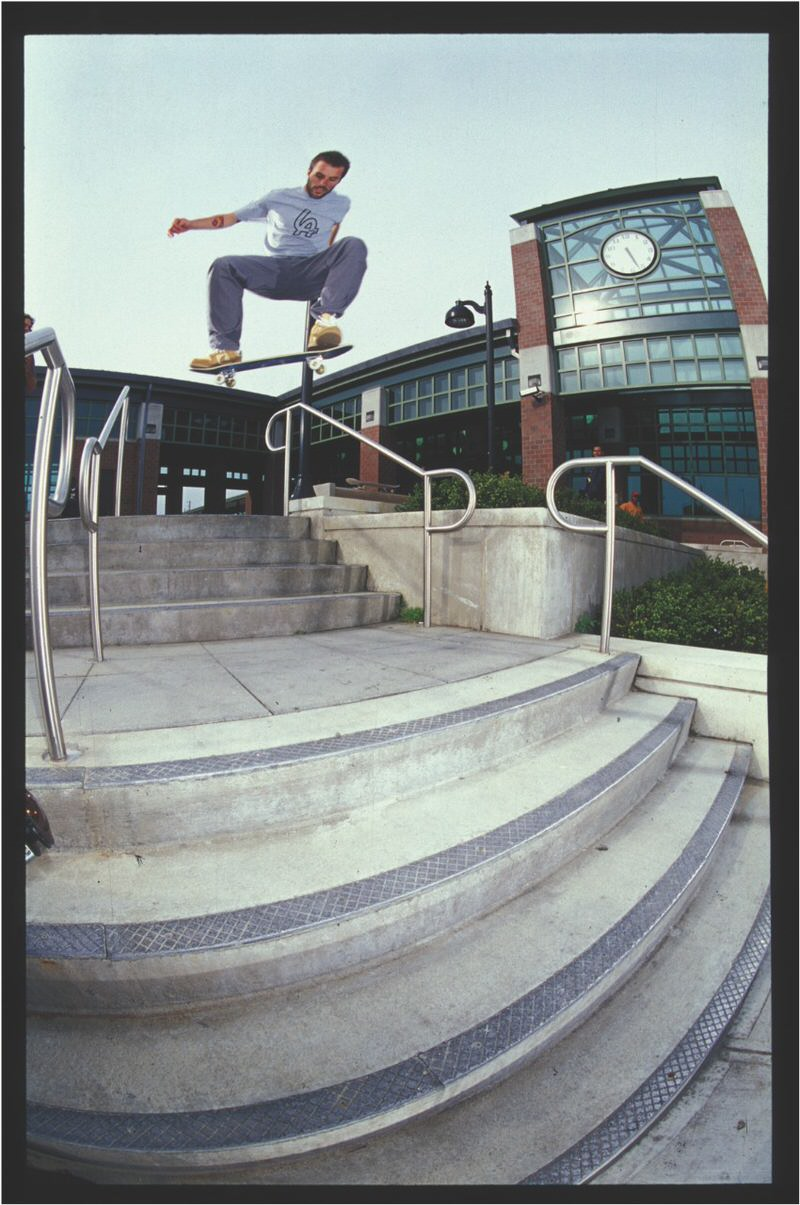 Gino Iannucci with a Nollie Frontside 180 in the Reese Forbes Dunk Low colorway.