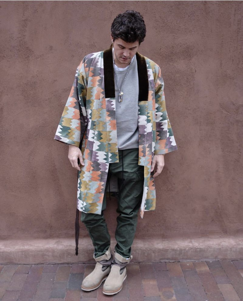 John Mayer's robe counts as an easy six-pointer, followed by his visvim Industrial boots at two with a basic pair of cargos and crewneck at one a piece.