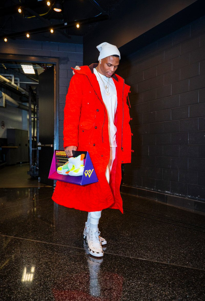 Russell Westbrook in the Off White x Converse Chuck Taylor