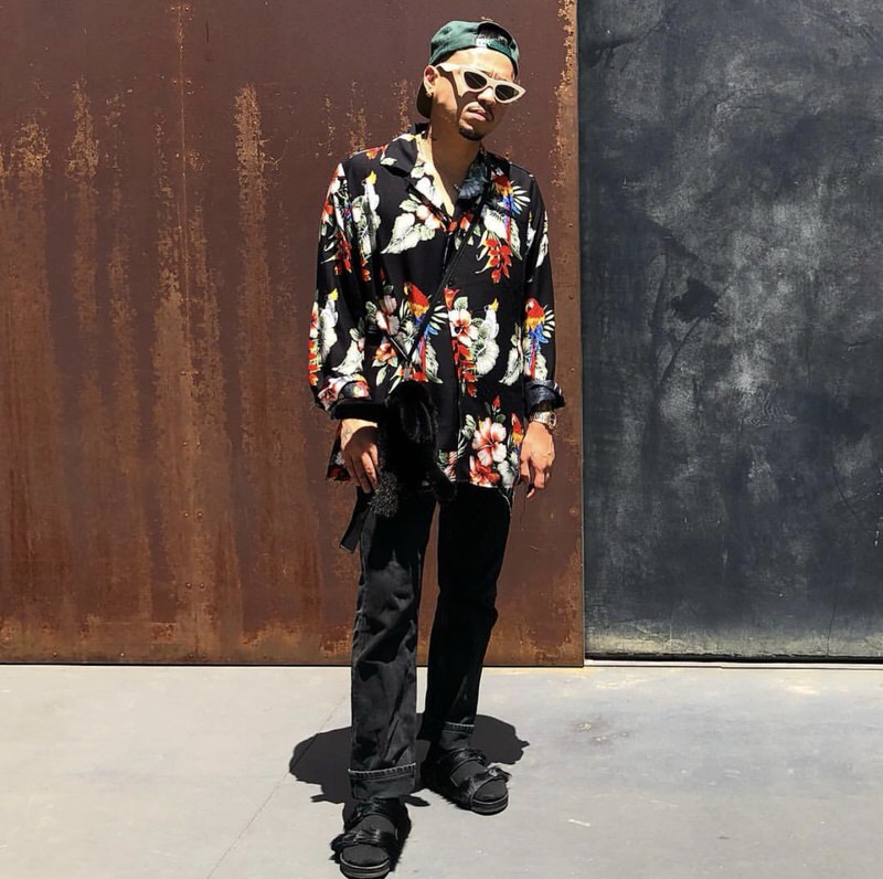 Rhuigi knows how to make his style seem like it's summer all year long.