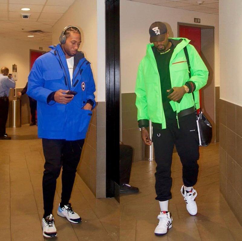 Kawhi Leonard and Serge Ibka both sporting this season color pop trend.