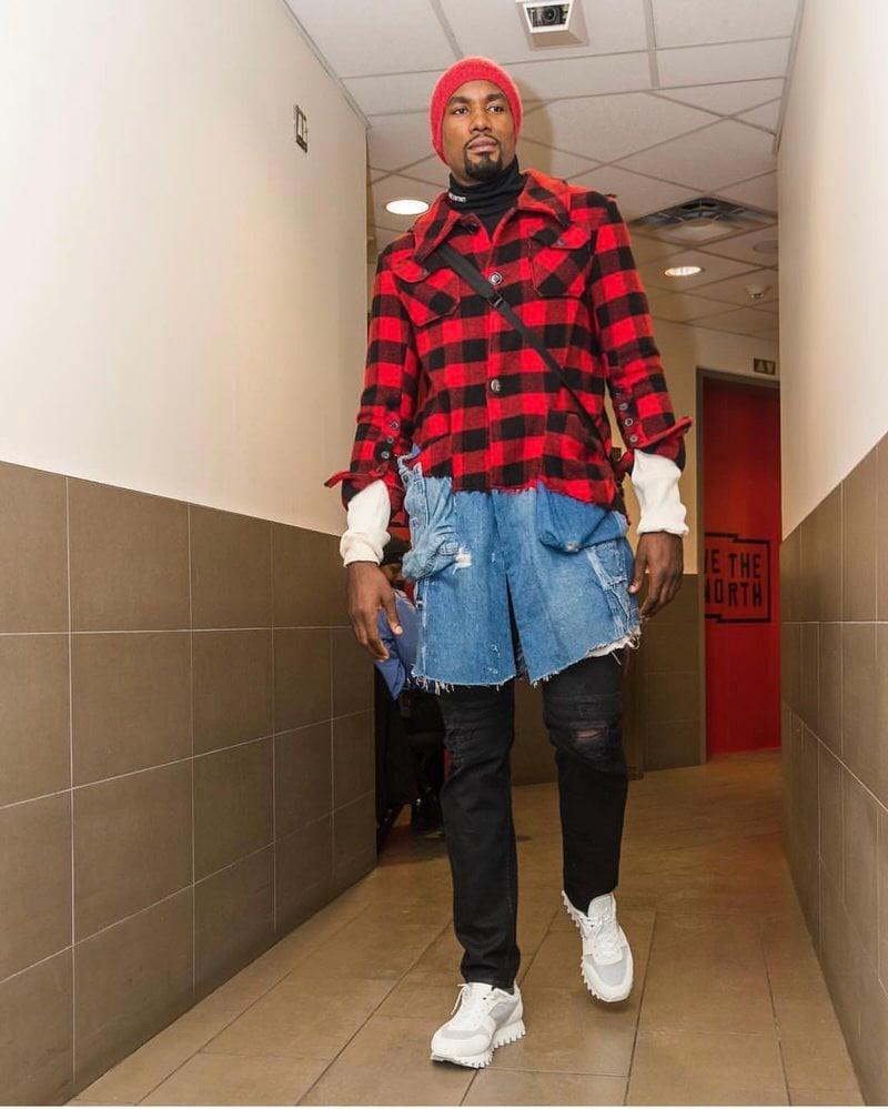 Serge Ibaka wears Greg Lauren coat that blends denim and lumberjack aesthetics.