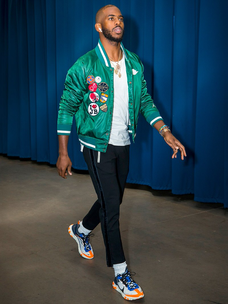Chris Paul wears Rude Traxedo pants with Nike Element React 85s.