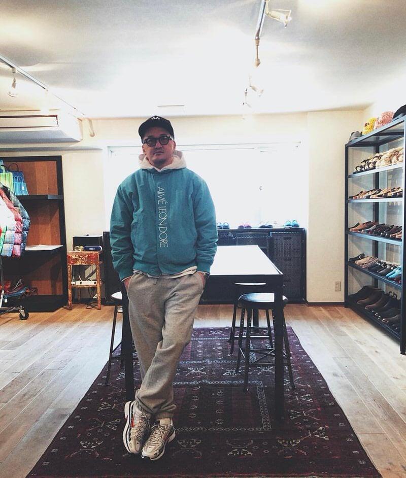 Junya Matano styles an Aime Leon Dore Windbreaker with fleece sweats and Nike P-6000s.