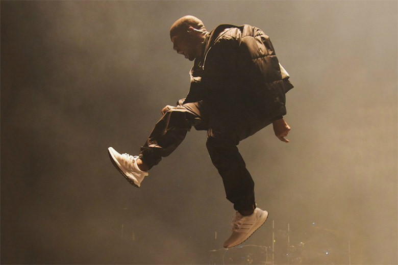 Kanye kicking off the UltraBoost wave with the 1.0s, technical running pants, and a bomber jacket.