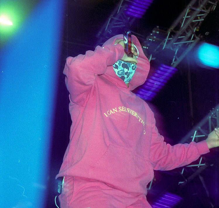 Bad Bunny performing at Baja Beach Fest