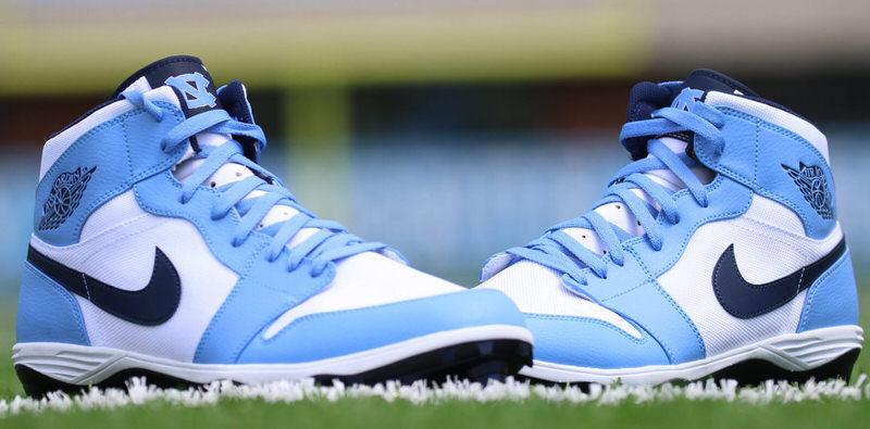 A Closer Look at the Air Jordan 1 Cleats for Tar Heel ... North Carolina Football Shoes