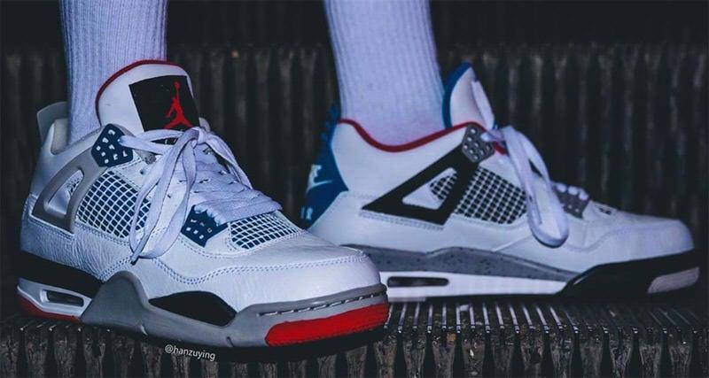 jordan 4 white on feet