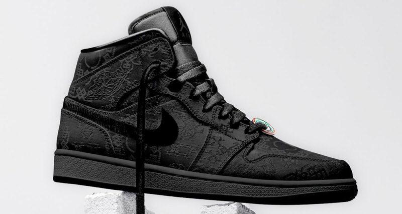CLOT x Air Jordan 1 Mid Black Release