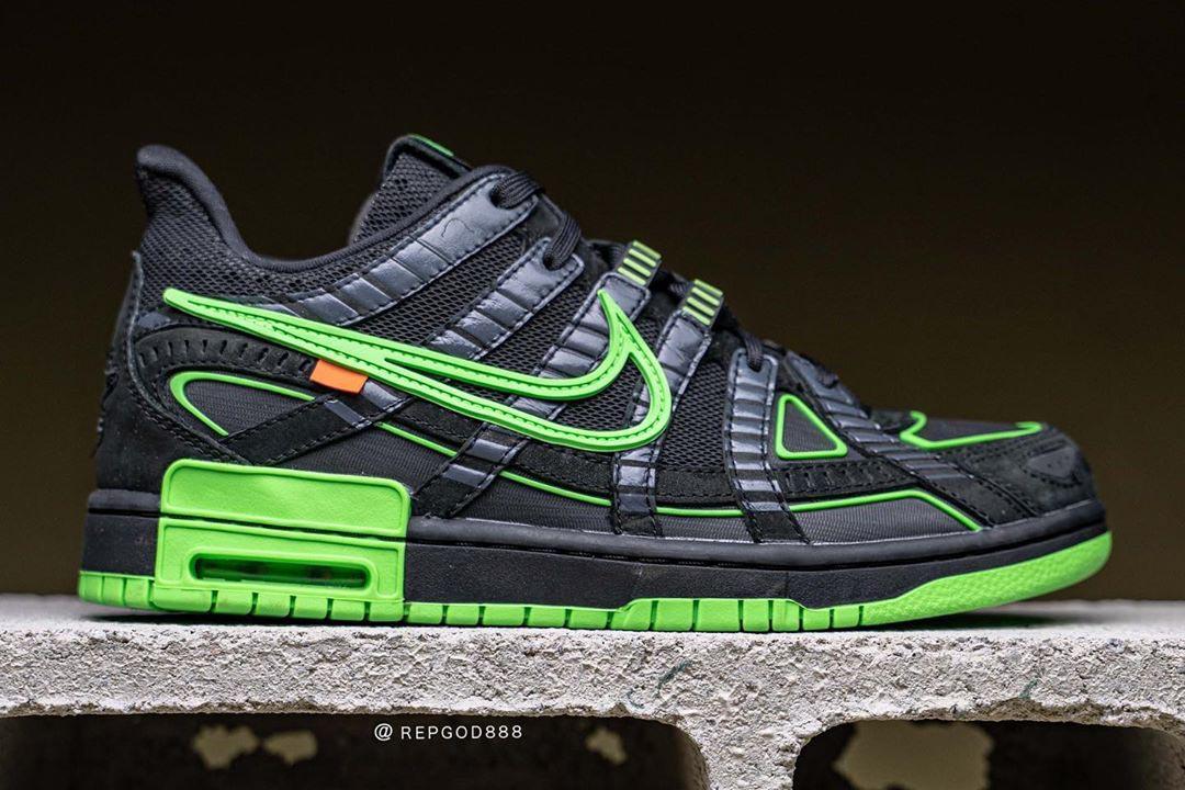 "Off-White x Nike Air Rubber Dunk ""Green Strike"" CU6015-001"