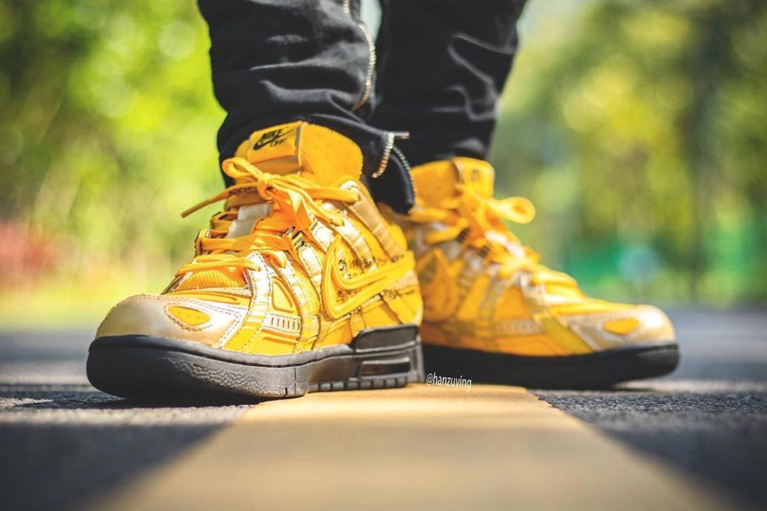 "Off-White x Nike Air Rubber Dunk ""University Gold"" CU6015-700"