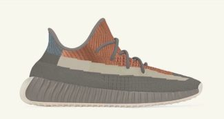 The adidas Yeezy 350 V2 Surfaces in a Grey/Orange Rendition