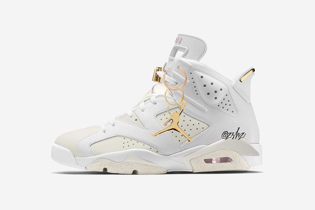 """Air Jordan Retro 6 WMNS """"Gold Hoops"""" DH9696-100"""