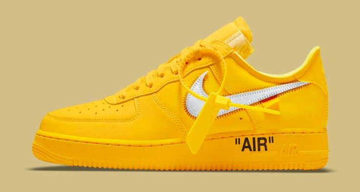 """Off-White x Nike Air Force 1 Low """"University Gold"""" DD1876-700"""