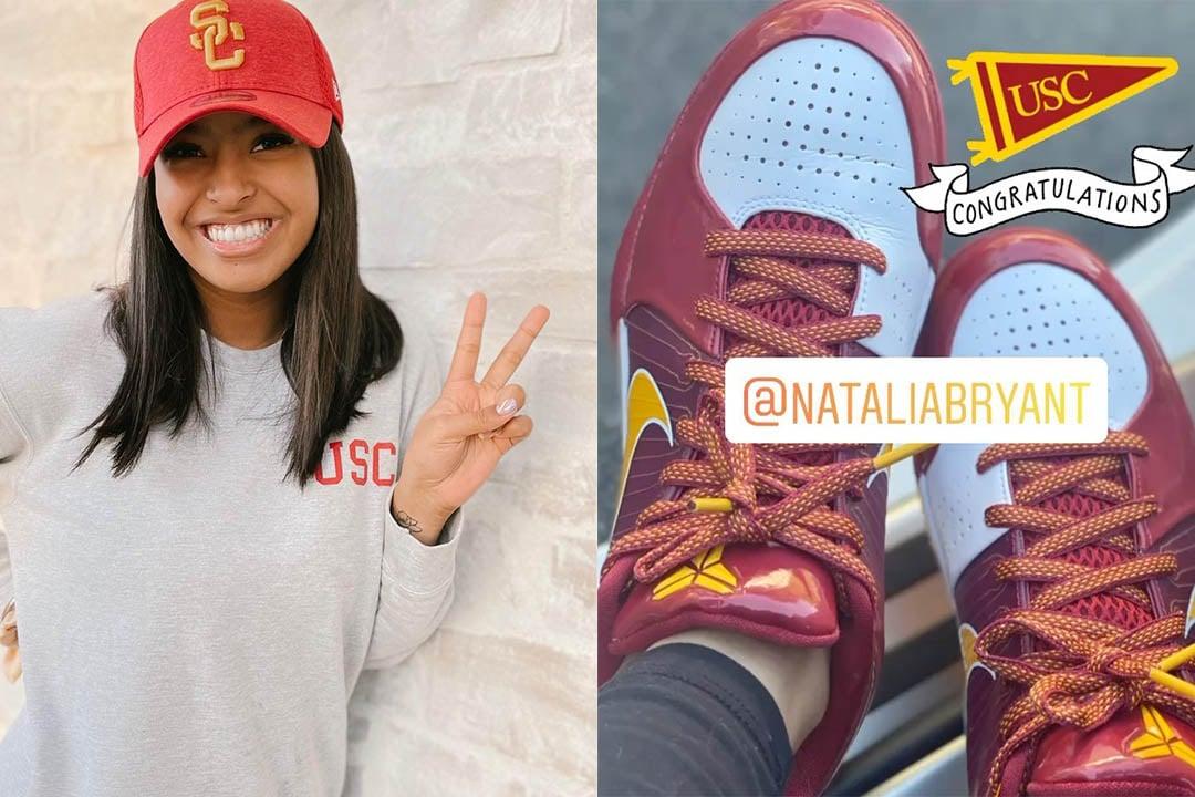 Natalia Bryant Celebrates USC Acceptance With Kobe Zoom 4 USC PE