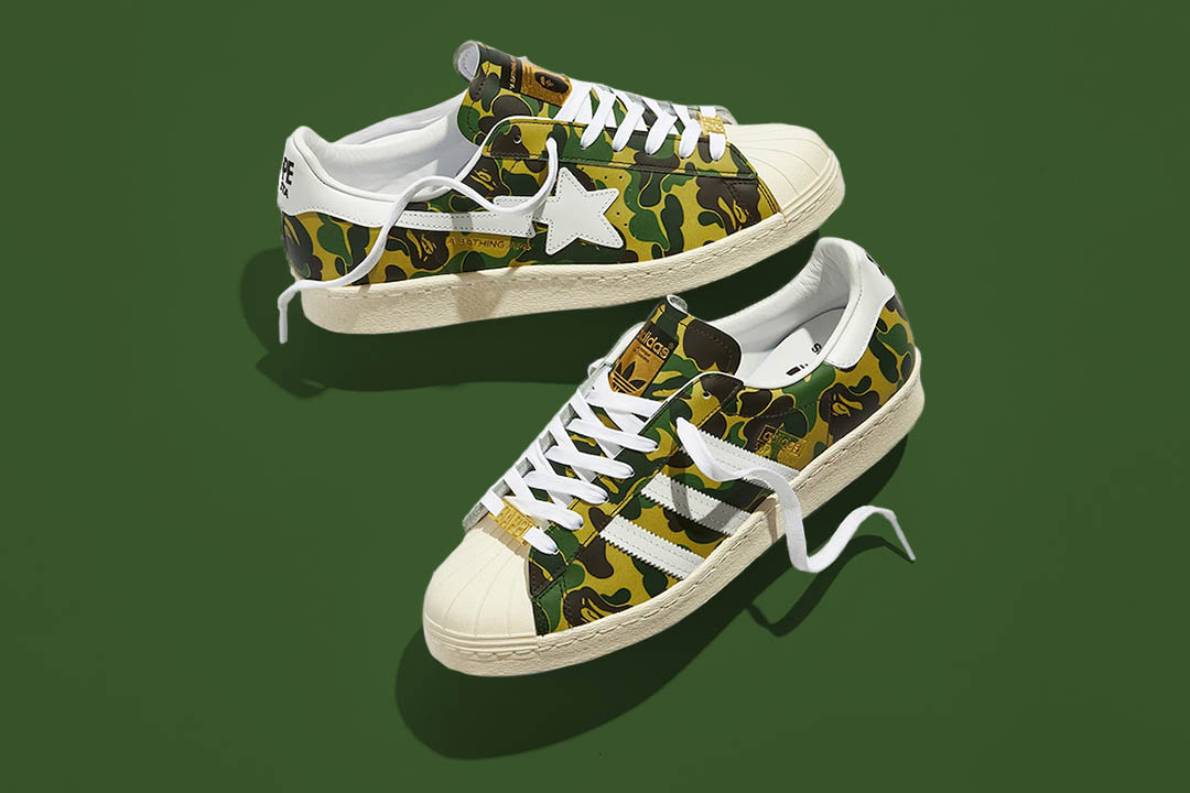 "BAPE x adidas Superstar ""Green Camo"" GZ8981"